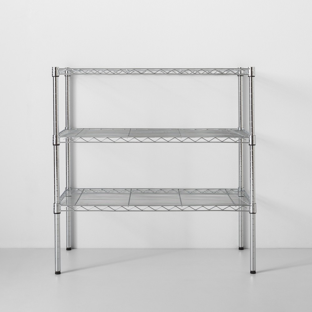 Image of 3 Tier Wide Wire Shelf Chrome - Made By Design , Grey