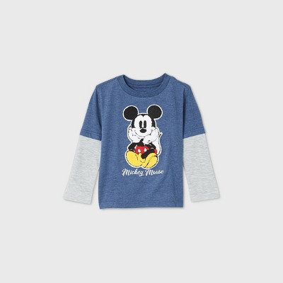 Toddler Boys' Mickey Mouse Chenille Patch Long Sleeve Graphic T-Shirt - Navy