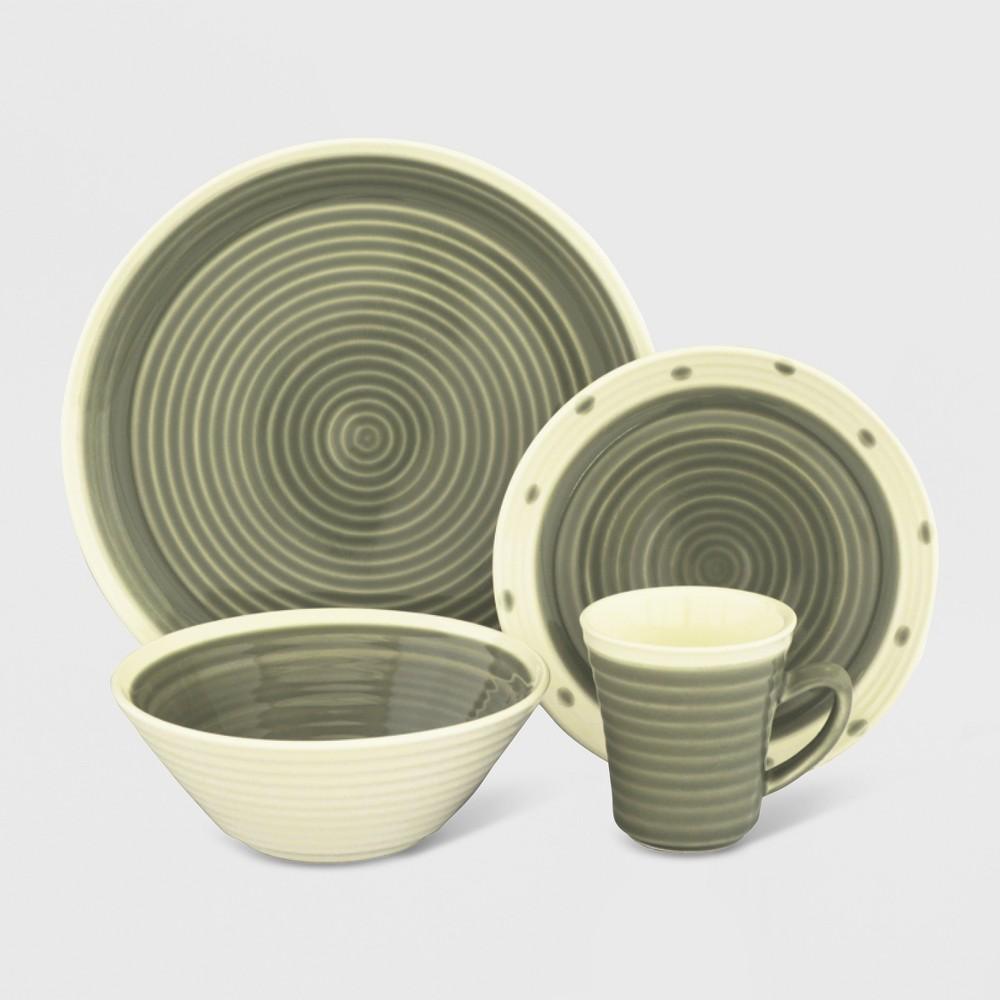 16pc Stoneware Rico Dinnerware Set Gray - Sango