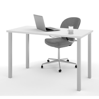 24 X48  Table with Square Metal Legs White - Bestar