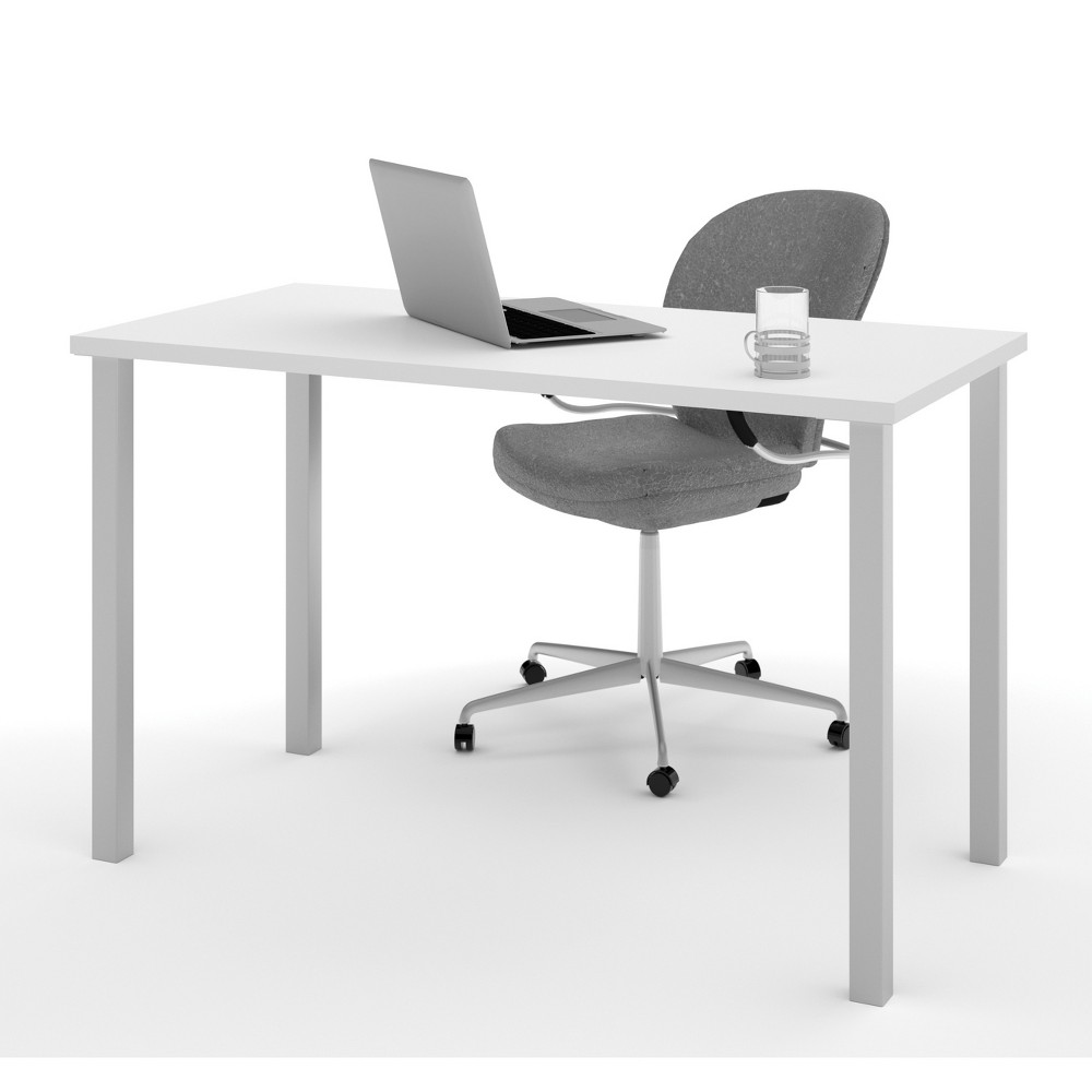 "Image of ""24""""X48"""" Table with Square Metal Legs White - Bestar"""