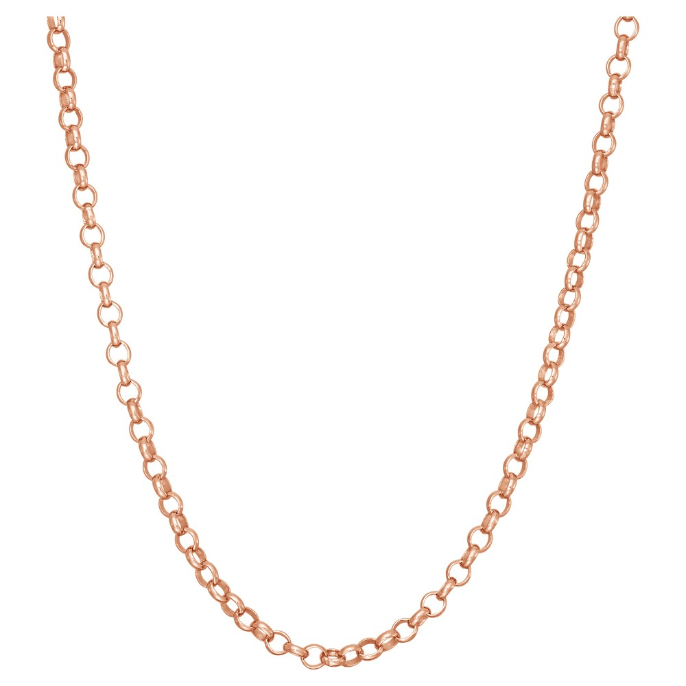 """Tiara Rose Gold Over Silver 18"""" Rolo Chain Necklace, Women's, Size: 18 inch, Pink"""
