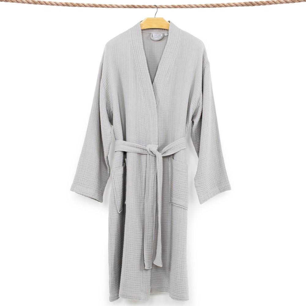 S M Smyrna Hotel Spa Luxury Robe Gray Linum Home Textiles
