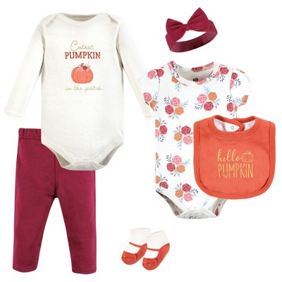 Hudson Baby Infant Girl Cotton Layette Set, Hello Pumpkin