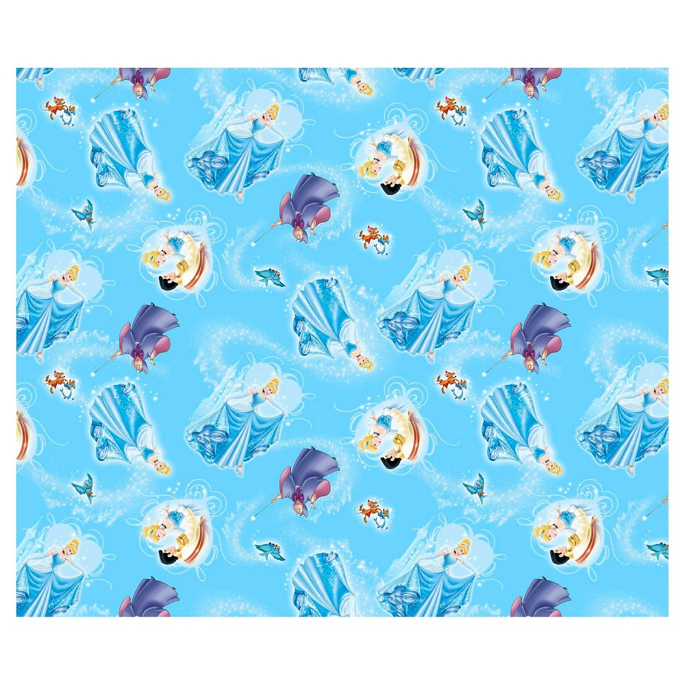 Disney Princess Movie Moments Cinderella Character Toss, Blue, 100% Cotton, 43/44 Width, Fabric by the Yard