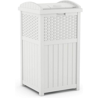 """Suncast GHW1732WH 15.75"""" x 16"""" x 31.6"""" Trashcan Hideaway Outdoor Commercial 33 Gallon 31.6"""" Resin Garbage Waste Bin with Lid in White for Garage"""