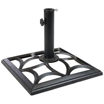 "Classic Geometric Design Cast Iron Outdoor Umbrella Base 16"" Square - Sunnydaze Decor"