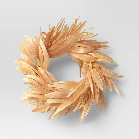 "22"" Artificial Oat Grass Corn Husk Wreath - Threshold™ - image 1 of 4"