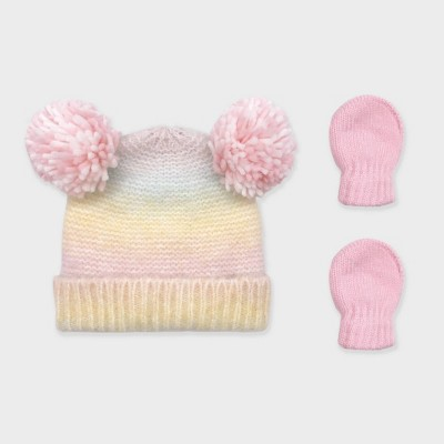 Baby Girls' Ombre Knit Beanie and Basic Magic Mittens Set - Cat & Jack™ Pink 6-12M