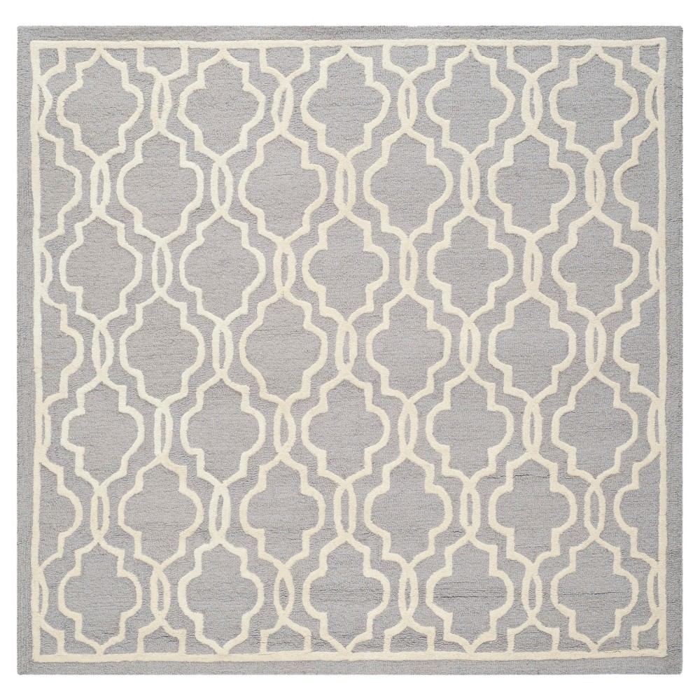 Langley Textured Rug - Silver / Ivory (10' X 10' Square) - Safavieh, Silver/Ivory