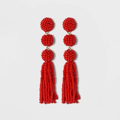 SUGARFIX by BaubleBar Beaded Ball Drop Tassel Earrings