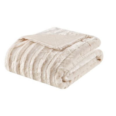 Ivory York Long Faux Fur Throw (50 X60 )