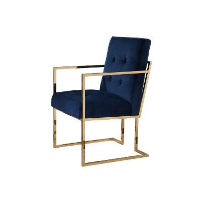 Nieve Velvet Armchair Navy Blue - Abbyson Living