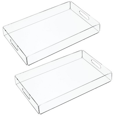 mDesign Acrylic Rectangular Serving Tray with Handles,  2 Pack - Clear