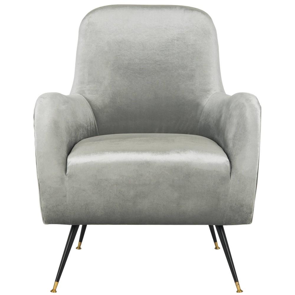 Noelle Mid-Century Arm Chair - Light Gray Velvet - Safavieh, Light Grey