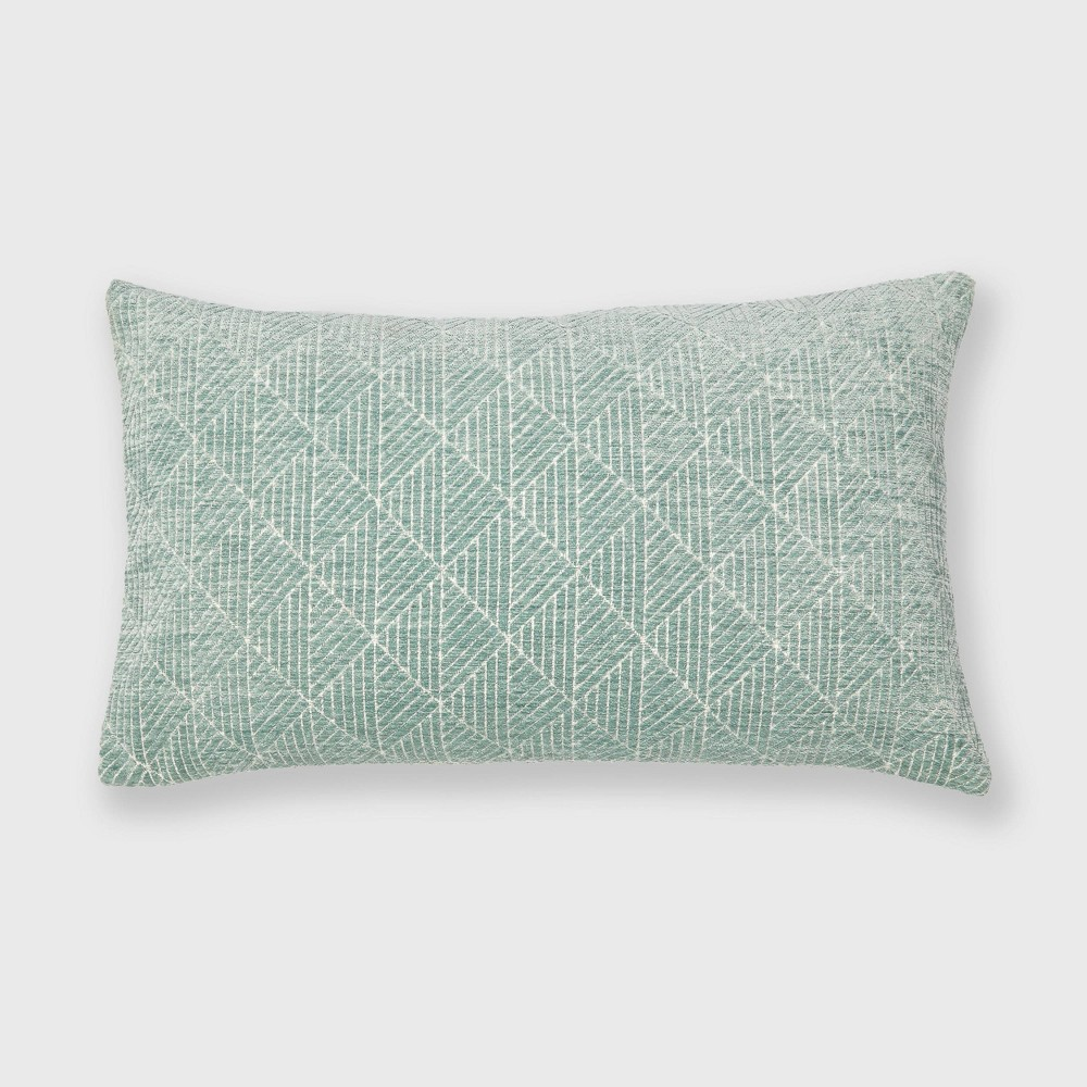 "Image of ""14""""x24"""" Geometric Chenille Woven Jacquard Throw Pillow Surf Blue - Freshmint"""