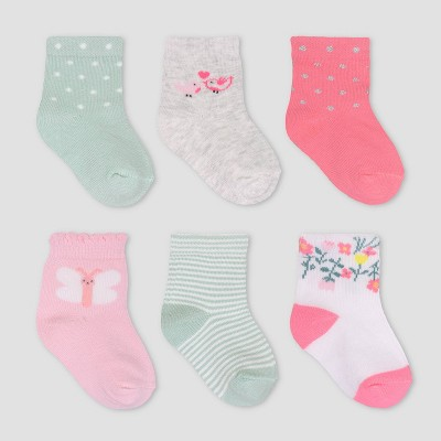 Baby Girls' 6pk Flower Crew Socks - Just One You® made by carter's 3-12M