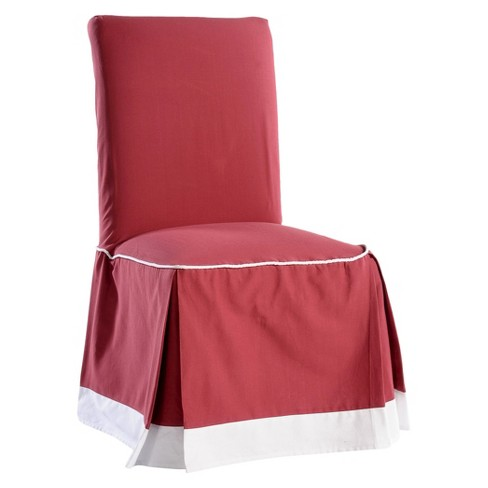 Super Red White Cotton Duck Two Tone Dining Chair Slipcover Beatyapartments Chair Design Images Beatyapartmentscom
