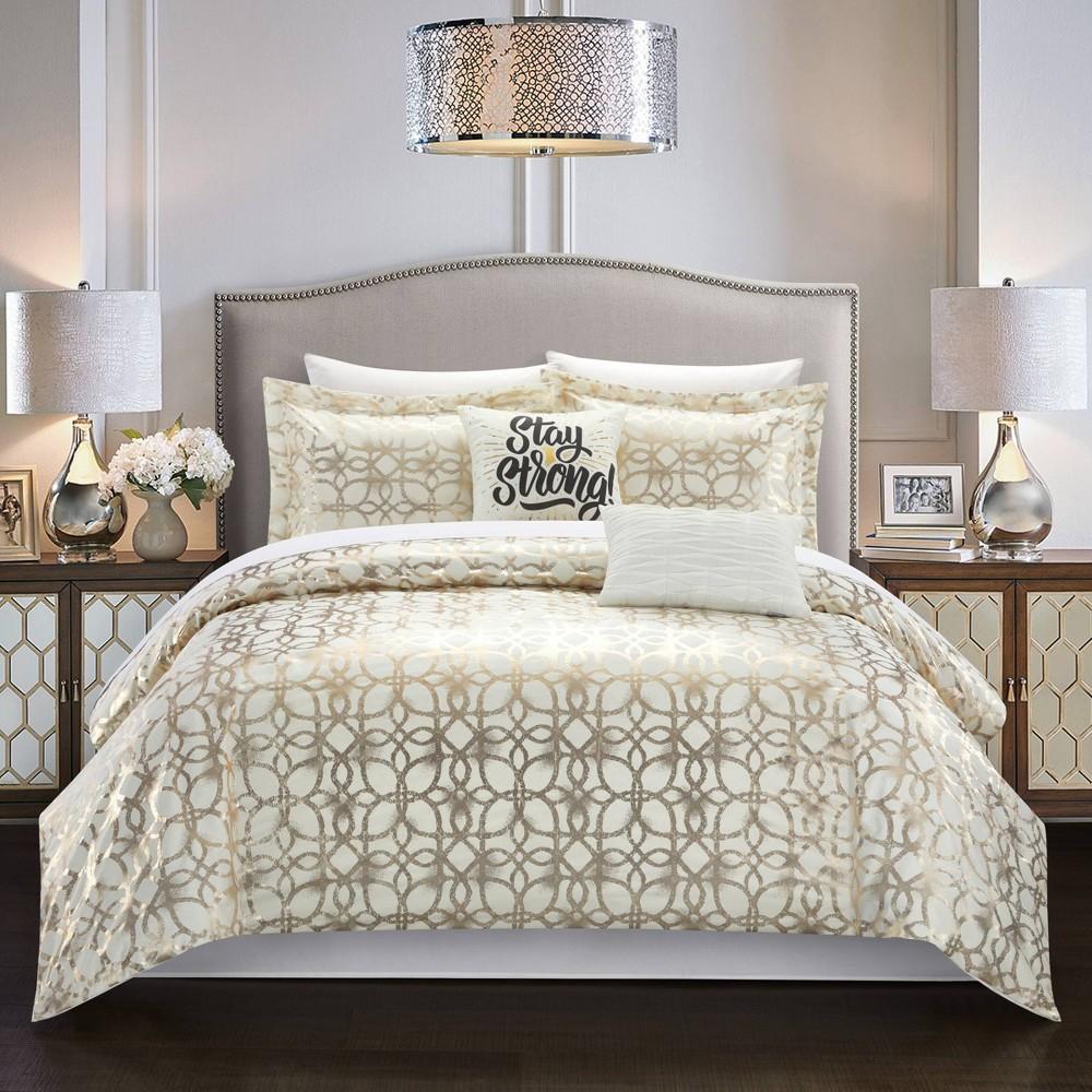 King 9pc Shea Bed In A Bag Comforter Set Beige Chic Home Design