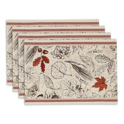 Set of 4 Embellished Placemat Acorn Harvest - Design Imports