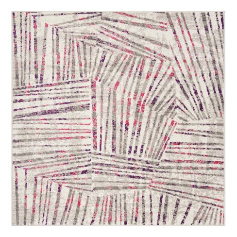 "Gray/Pink Thin Stripe Loomed Square Area Rug 6'7""X6'7"" - Safavieh - image 1 of 4"