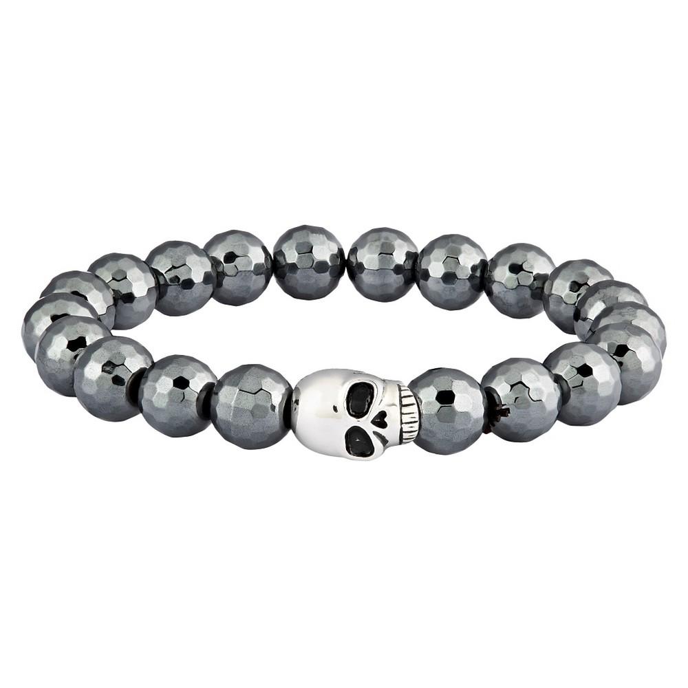 Men's Crucible Faceted Hematite Beaded Skull Stainless Steel Stretch Bracelet (8mm) - Gray (8.5)