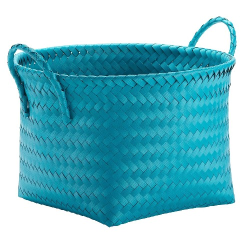 Round Woven Plastic Storage Basket - Teal Blue - Room Essentials™ - image 1 of 1