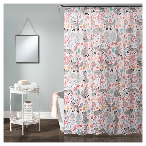 Pixie Fox Shower Curtain Gray Pink
