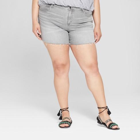 65d7d486280 Women s Plus Size Raw Hem Boyfriend Shorts - Universal Thread™ Gray Wash