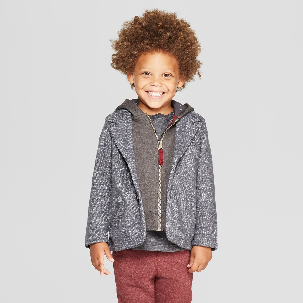 Image of Genuine Kids from OshKosh Toddler Boys' 2-in-1 Blazer and Hoodie - Gray 12M, Toddler Boy's