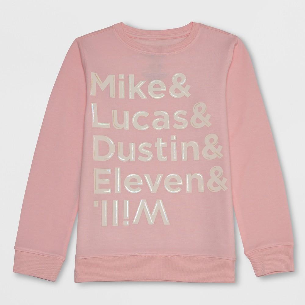 Girls' Stranger Things Name List Sweatshirt - Light Pink XL