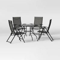 Project 62 Kingman 5-Piece Sling Folding Patio Dining Set (Dark Gray)
