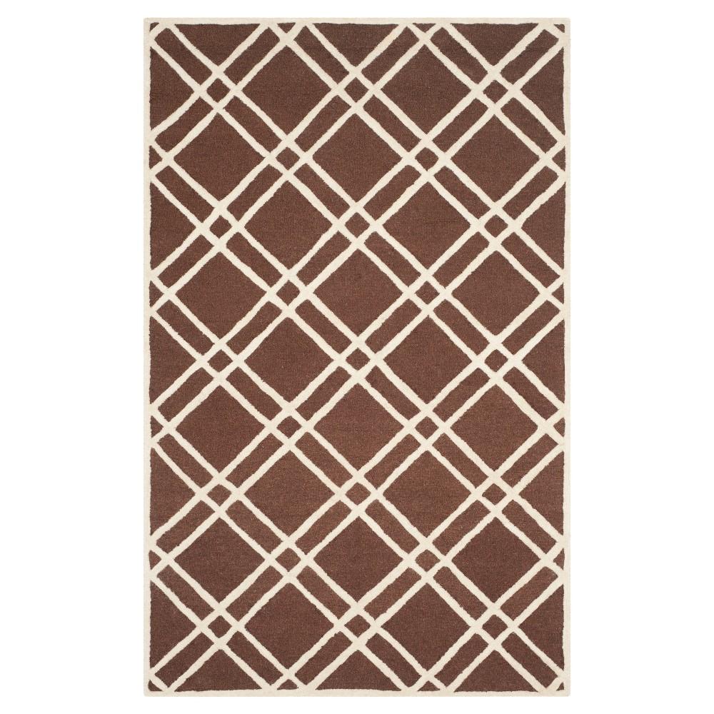 Frey Textured Wool Rug - Dark Brown / Ivory (5' X 8') - Safavieh, Dark Brown/Ivory