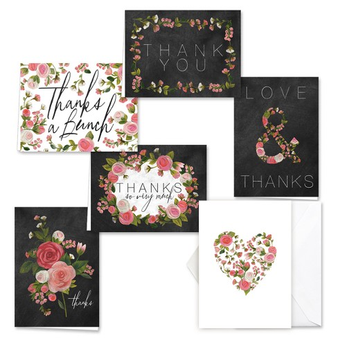 36ct Chalkboard And Roses Thank You Card Set - image 1 of 1