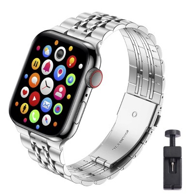 Insten 7 links Solid Stainless Steel Metal Band for Apple Watch 42mm 44mm All Series SE 6 5 4 3 2 1 Replacement Bracelet Strap, Silver