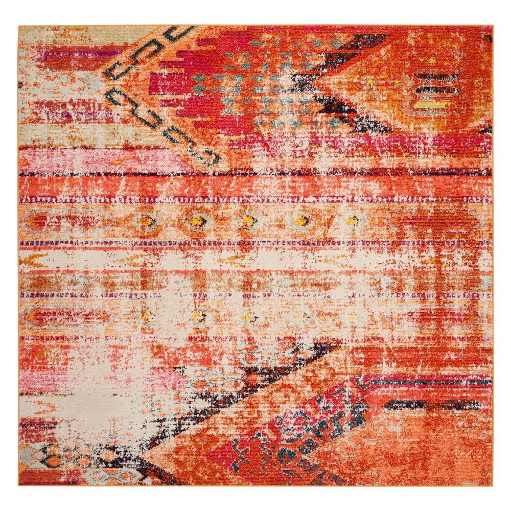 5'X5' Tribal Design Square Area Rug Orange - Safavieh, Orange/Multi-Colored