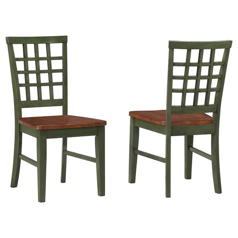 Arlington Lattice Back Side Chair Green and Java Finish (Set of 2) - Intercon - image 1 of 1