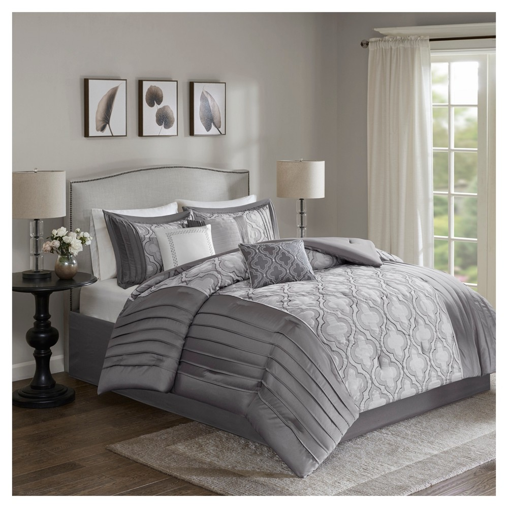 Silver Channa Embroidered Comforter Set Queen 7pc