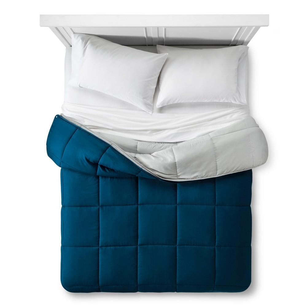 All Seasons Down Alternative Snap Comforter (Twin) Navy (Blue) - Vcny