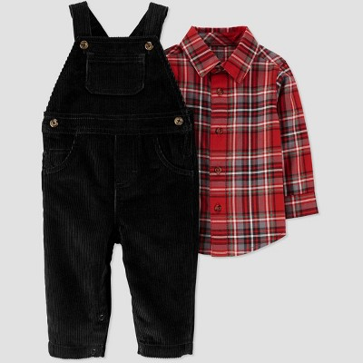 Baby Boys' 2pc Plaid Overall Set Overall Set - Just One You® made by carter's Black/Red 6M