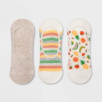 Women's Fruit 3pk Liner Socks - A New Day™ Cream/Pink 4-10