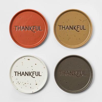 4  4pk Ceramic Thankful Coasters - Threshold™