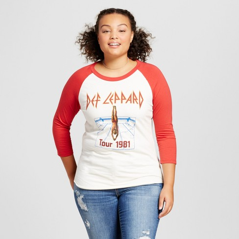 26b0814d Women's Plus Size Def Leppard 3/4 Sleeve Raglan Graphic T-Shirt - White/Red