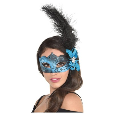 Adult Wispy Glimmer Feather Mask Accessory Halloween Costume