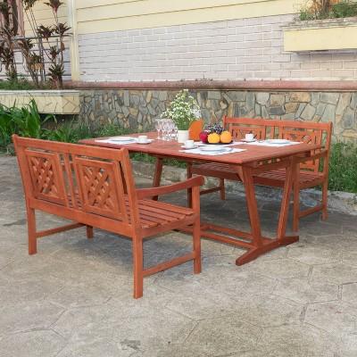 Malibu 3pc Wood Extendable Outdoor, Malibu Outdoor Furniture Rhode Island