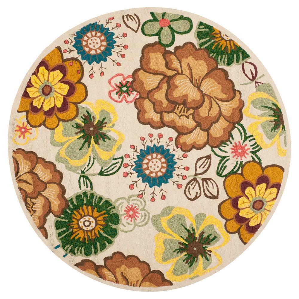 Best Ivory Brown Floral Hooked Round Area Rug 6 - Safavieh