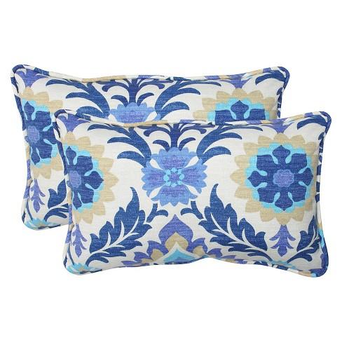 2pc Rectangular Outdoor Decorative Throw Pillow Set Bluewhite