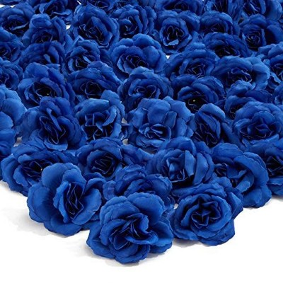 50 Pack Artificial Fake Silk Rose Flower Heads for Wedding Decoration, Bridal Bouquet, Home Decor - Dark Blue