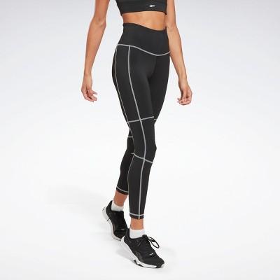 Reebok Workout Ready High-Rise Detail Leggings Womens Athletic Leggings