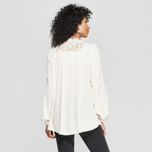 b8ec000b2e146b Women's Long Sleeve V-Neck Embroidered Peasant Top - Knox Rose™ Ivory XS :  Target